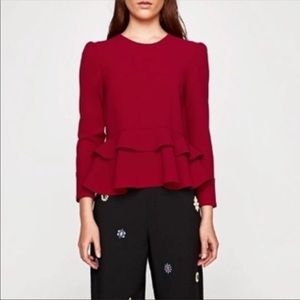 ZARA new red ruffle blouse